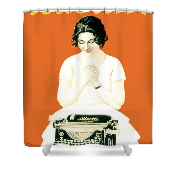 1924 - Olivetti Typewriter Advertisement Poster - Color Shower Curtain by John Madison
