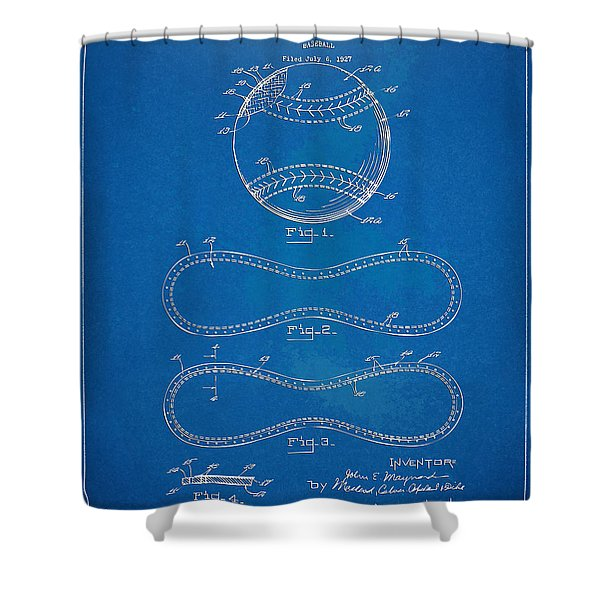 1928 Baseball Patent Artwork - Blueprint Shower Curtain by Nikki Smith