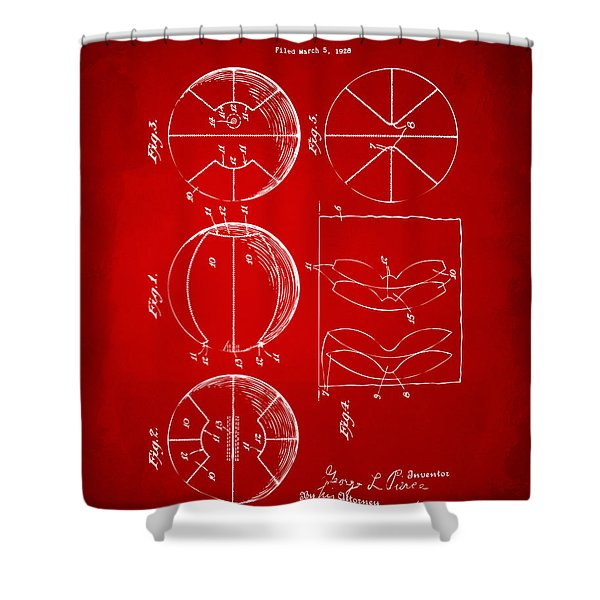1929 Basketball Patent Artwork - Red Shower Curtain by Nikki Marie Smith