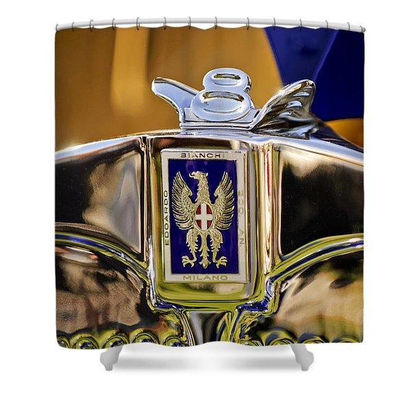 1929 Bianchi S8 Graber Cabriolet Hood Ornament And Emblem Shower Curtain by Jill Reger