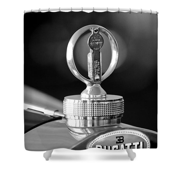 1930 Bugatti Hood Ornament Shower Curtain by Jill Reger