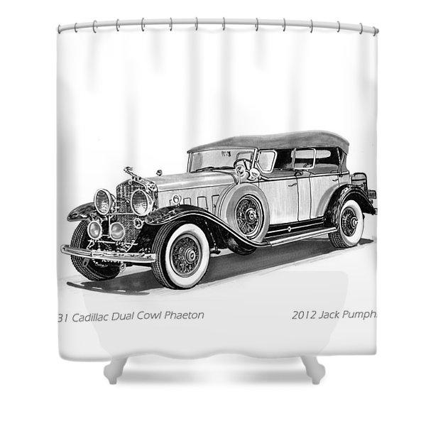 1931 Cadillac Phaeton Shower Curtain by Jack Pumphrey