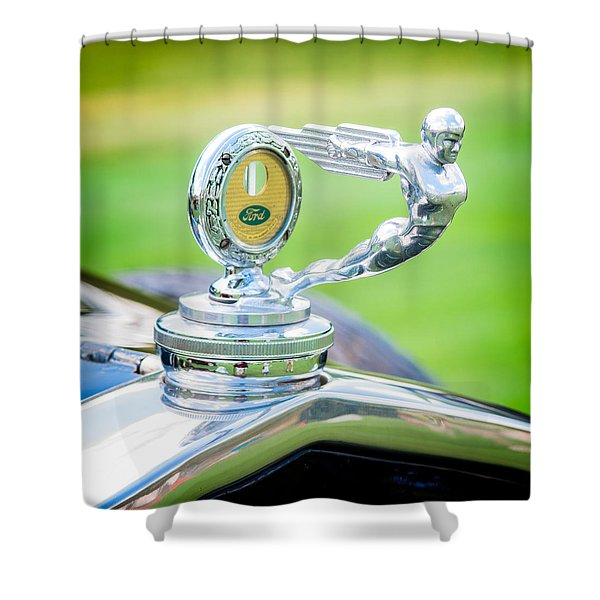 1931 Ford Model A Deluxe Fordor Hood Ornament Shower Curtain by Sebastian Musial