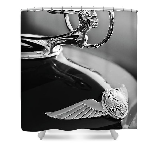 1933 Pontiac Hood Ornament 4 Shower Curtain by Jill Reger