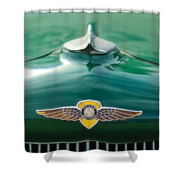 1934 Dodge Hood Ornament Emblem Shower Curtain by Jill Reger