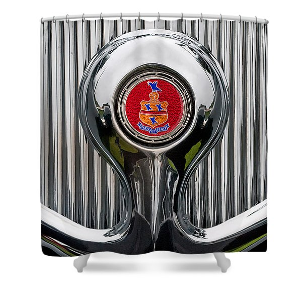 1935 Pierce-Arrow 845 Coupe Emblem Shower Curtain by Jill Reger