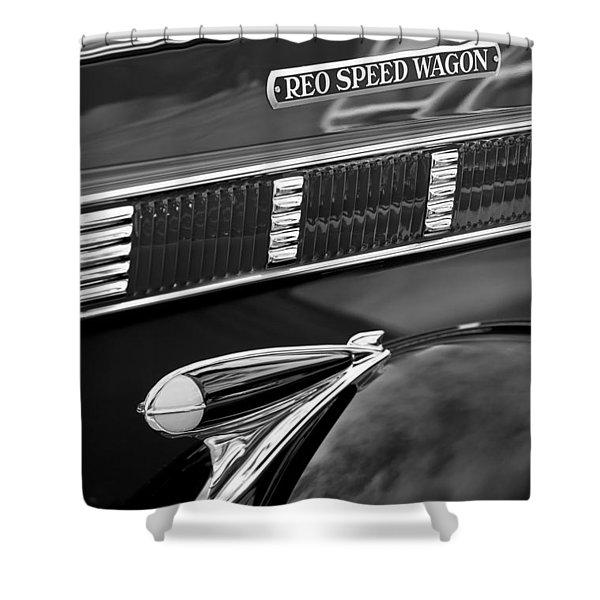 1935 Reo Speed Wagon 6AP Pickup Emblem Shower Curtain by Jill Reger