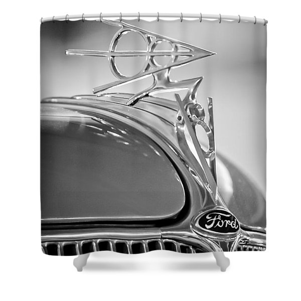 1936 Ford Deluxe Roadster Hood Ornament 2 Shower Curtain by Jill Reger