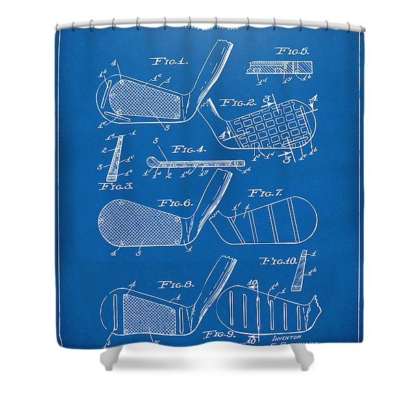 1936 Golf Club Patent Blueprint Shower Curtain by Nikki Marie Smith