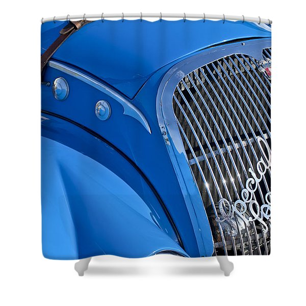 1937 Peugeot 402 Darl'mat Legere Special Sport Roadster Recreation Grille Emblem Shower Curtain by Jill Reger