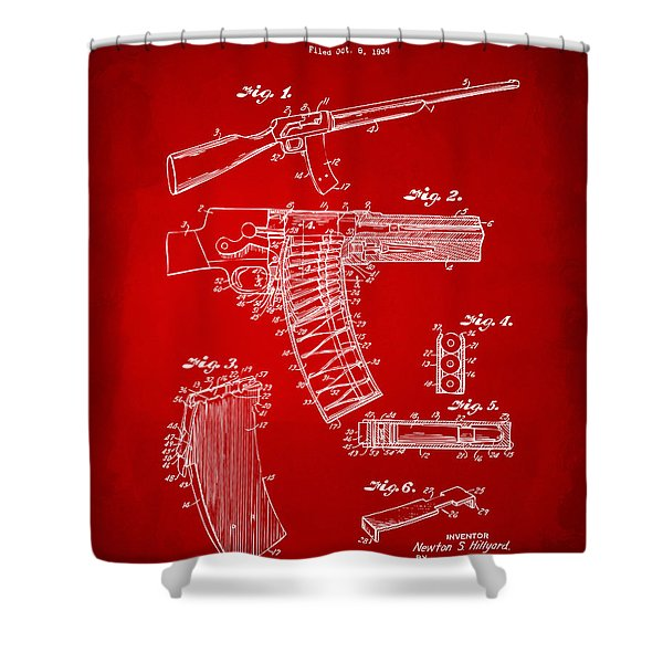 1937 Police Remington Model 8 Magazine Patent Artwork - Red Shower Curtain by Nikki Marie Smith