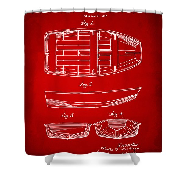 1938 Rowboat Patent Artwork - Red Shower Curtain by Nikki Marie Smith