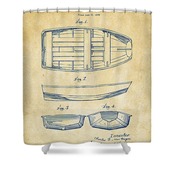 1938 Rowboat Patent Artwork - Vintage Shower Curtain by Nikki Marie Smith