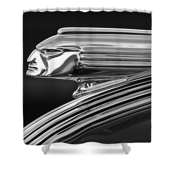 1939 Pontiac Silver Streak Hood Ornament 3 Shower Curtain by Jill Reger