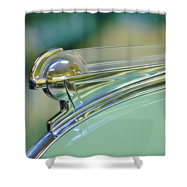 1940 Oldsmobile Hood Ornament Shower Curtain by Jill Reger