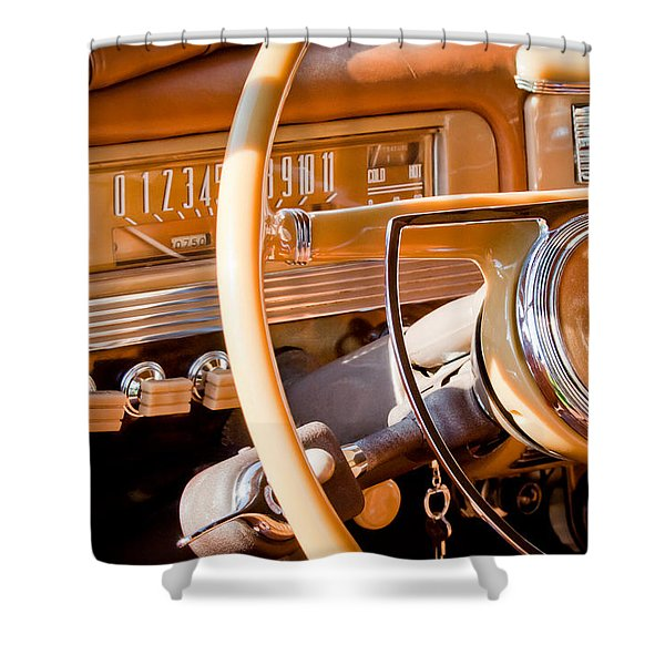 1942 Packard Darrin Convertible Victoria Steering Wheel Shower Curtain by Jill Reger