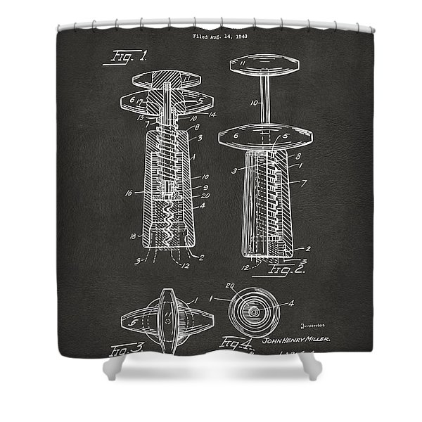 1944 Wine Corkscrew Patent Artwork - Gray Shower Curtain by Nikki Marie Smith