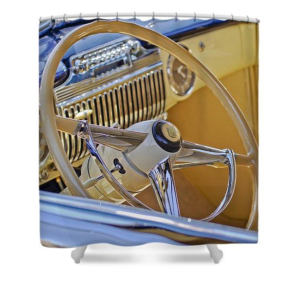1947 Cadillac 62 Steering Wheel Shower Curtain by Jill Reger
