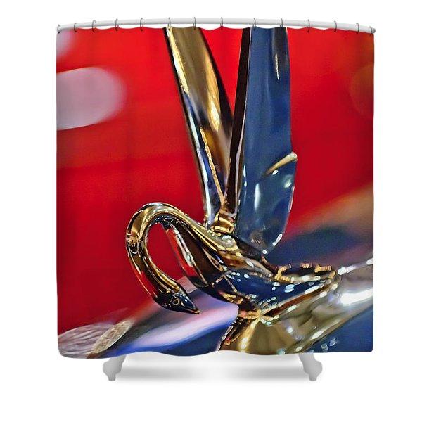 1948 Packard Hood Ornament Shower Curtain by Jill Reger