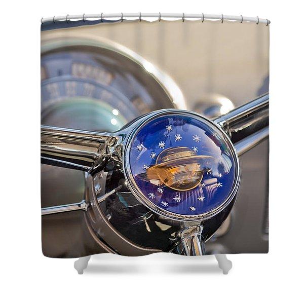 1950 Oldsmobile Rocket 88 Steering Wheel Shower Curtain by Jill Reger