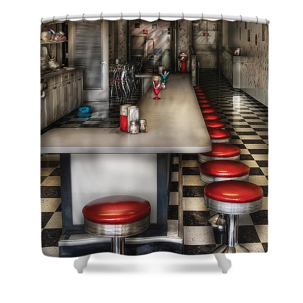 1950's - The Ice Cream Parlor Shower Curtain by Mike Savad