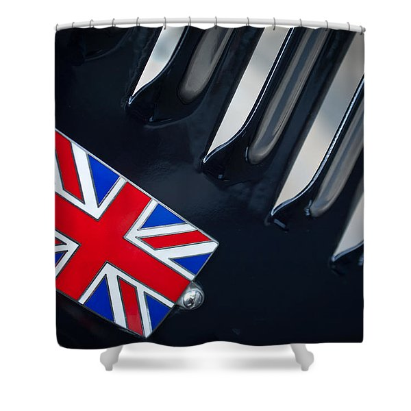 1951 Jaguar Proteus C-Type British Emblem Shower Curtain by Jill Reger
