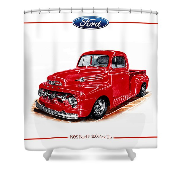 1952 Ford F-100 Pick Up Shower Curtain by Jack Pumphrey