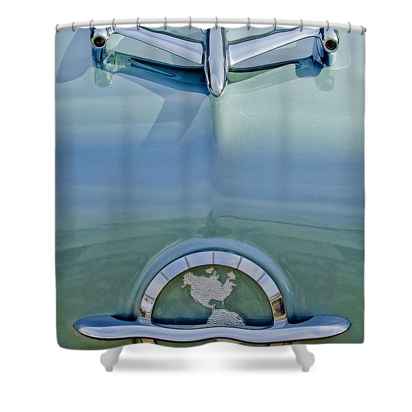 1954 Oldsmobile Super 88 Hood Ornament Shower Curtain by Jill Reger