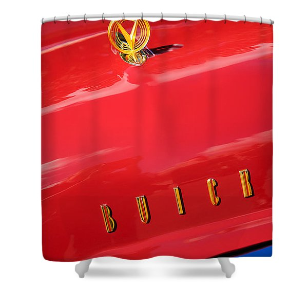 1955 Buick Roadmaster Hood Ornament - Emblem Shower Curtain by Jill Reger