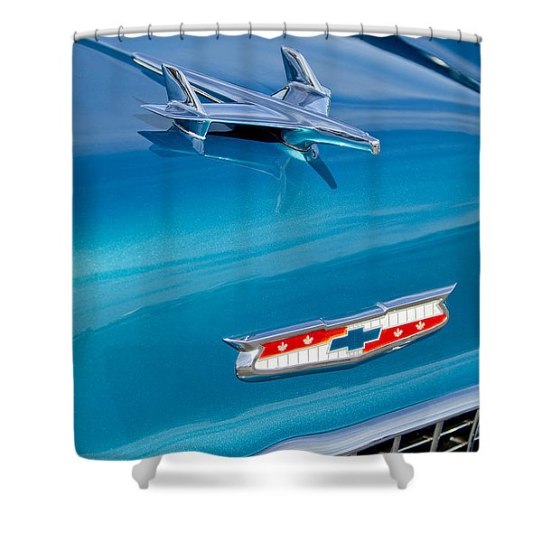 1955 Chevrolet Belair Hood Ornament 7 Shower Curtain by Jill Reger