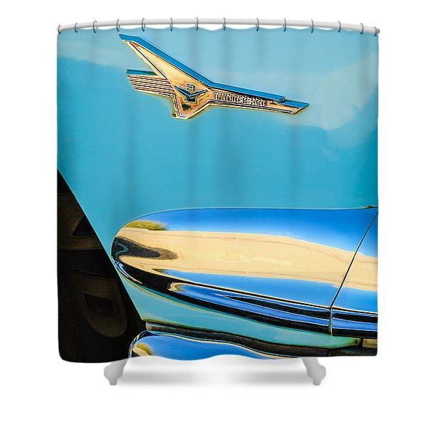 1956 Ford Fairlane Thunderbird Emblem Shower Curtain by Jill Reger