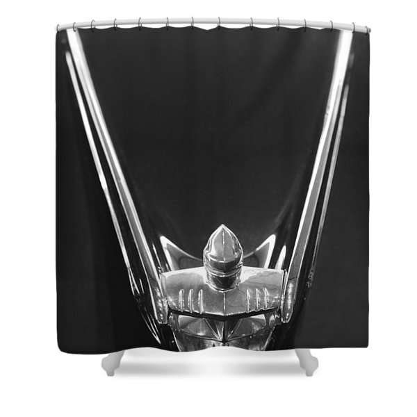 1956 Lincoln Premiere Convertible Hood Ornament 2 Shower Curtain by Jill Reger