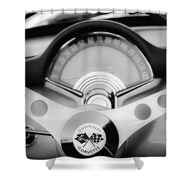 1957 Chevrolet Corvette Convertible Steering Wheel 2 Shower Curtain by Jill Reger
