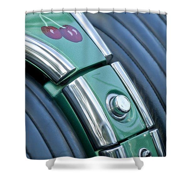 1957 Chevrolet Corvette Glove Box Shower Curtain by Jill Reger