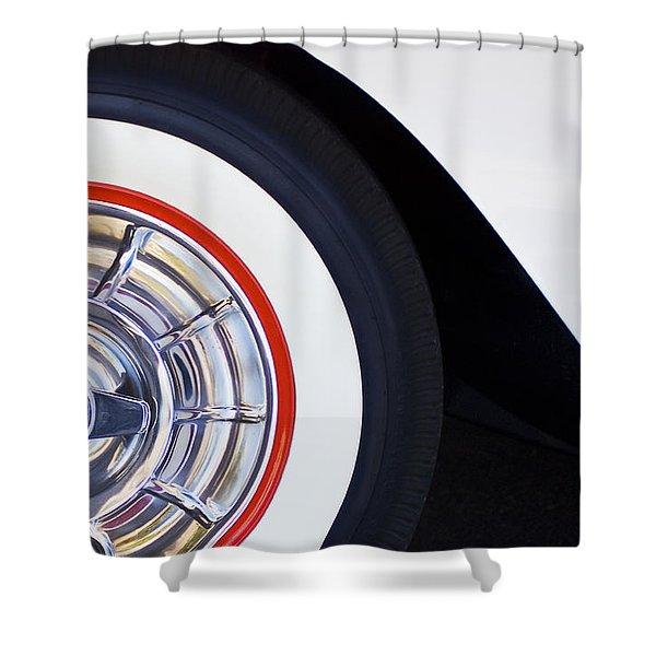 1957 Chevrolet Corvette Wheel Shower Curtain by Jill Reger