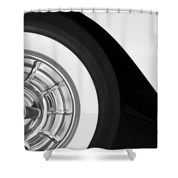 1957 Corvette Wheel Shower Curtain by Jill Reger