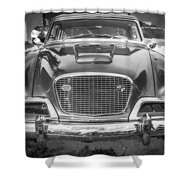 1957 Studebaker Golden Hawk BW Shower Curtain by Rich Franco