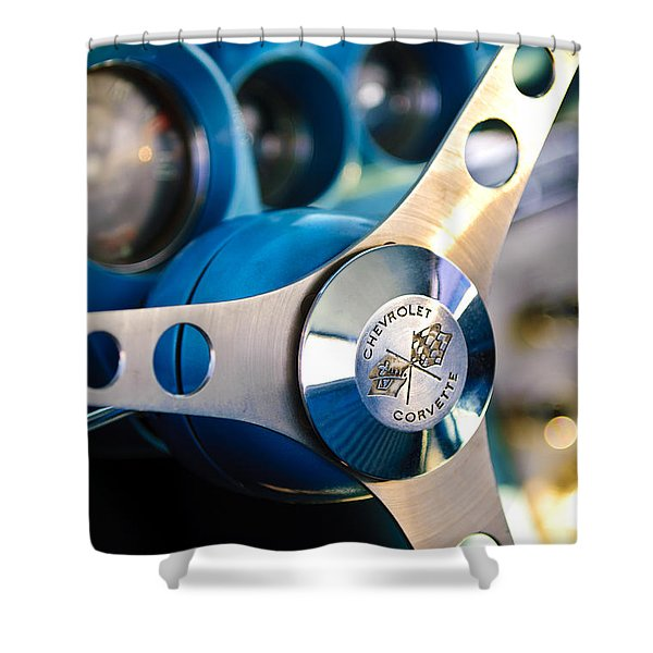 1958 Chevrolet Corvette Steering Wheel Shower Curtain by Jill Reger