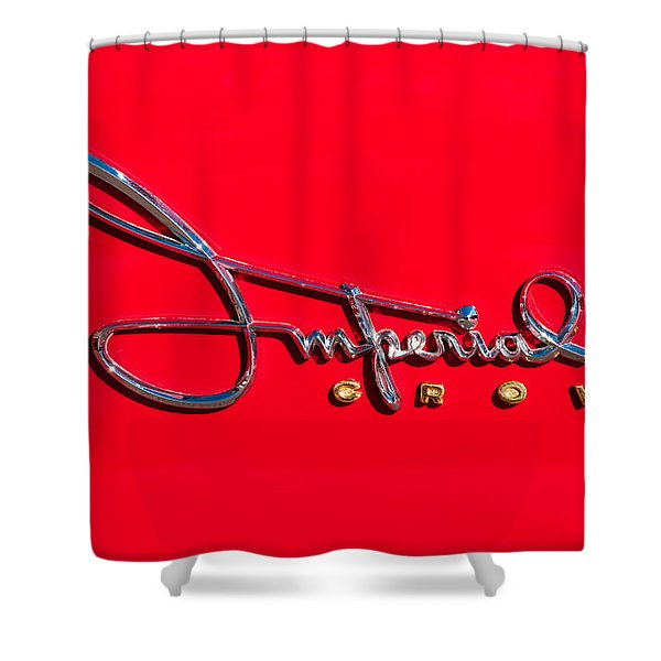 1958 Imperial Crown Convertible Emblem Shower Curtain by Jill Reger