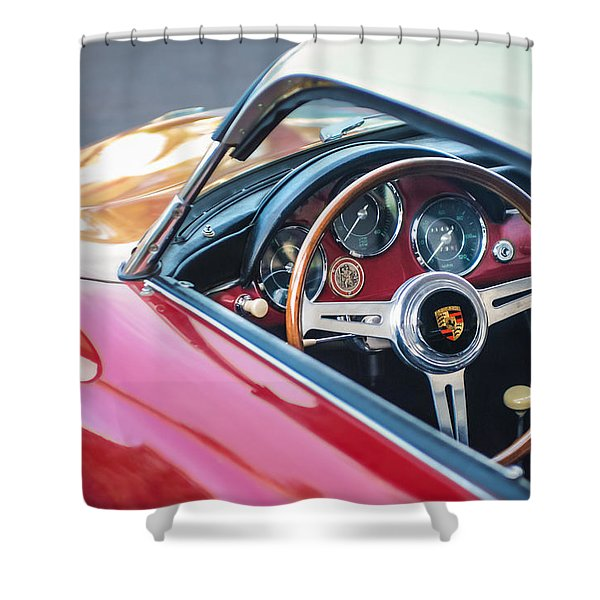1958 Porsche 356 1600 Super Speedster Steering Wheel Shower Curtain by Jill Reger