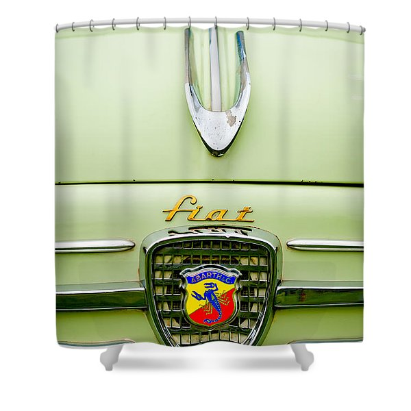 1959 Fiat 600 Derivazione 750 Abarth Hood Ornament Shower Curtain by Jill Reger