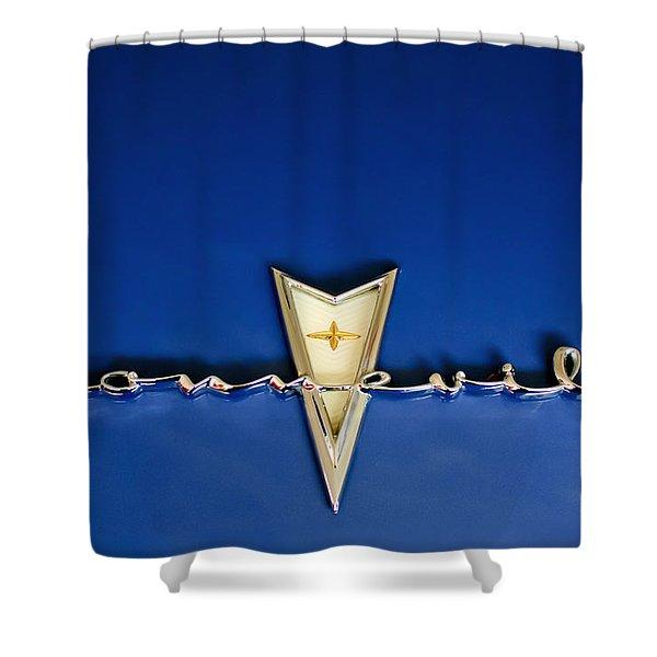 1959 Pontiac Bonneville Emblem Shower Curtain by Jill Reger