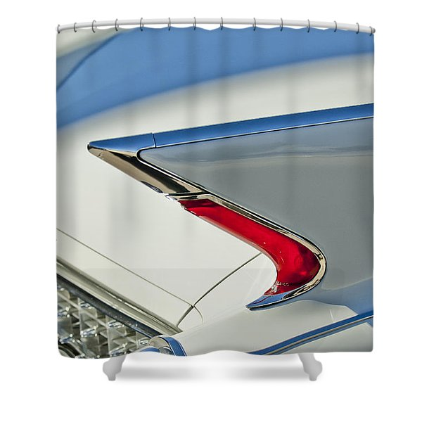 1960 Cadillac Eldorado Biarritz Convertible Taillight Shower Curtain by Jill Reger