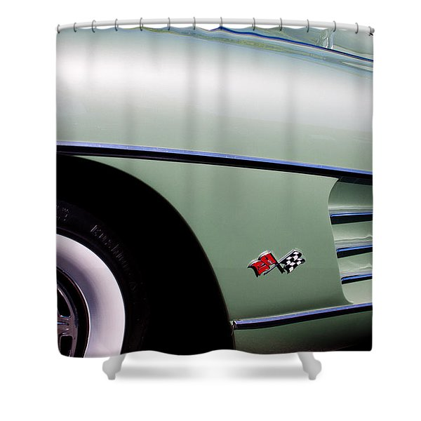 1960 Chevy Corvette Shower Curtain by David Patterson
