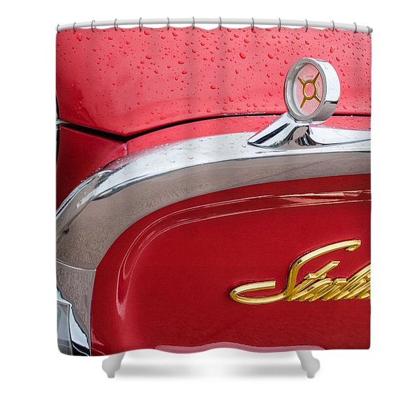 1960 Ford Galaxie Starliner Hood Ornament - Emblem Shower Curtain by Jill Reger