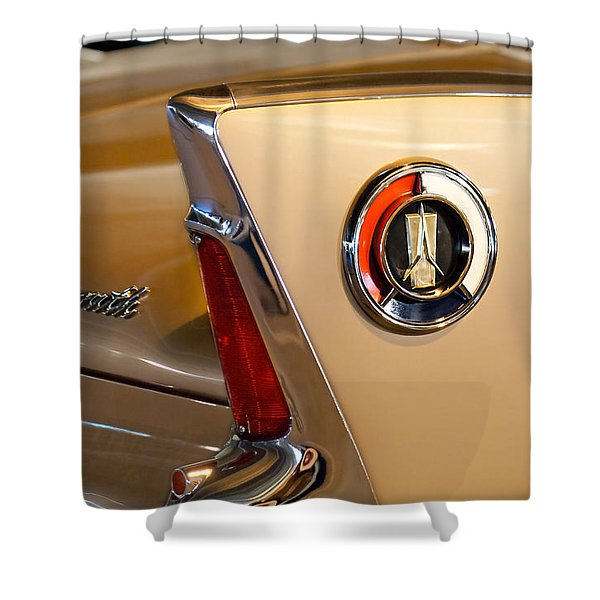 1960 Plymouth Fury Convertible Taillight and Emblem Shower Curtain by Jill Reger