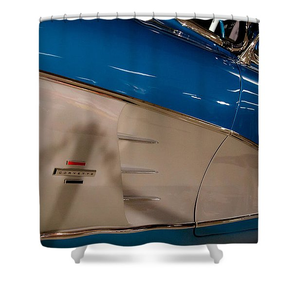 1961 Chevrolet Corvette V Shower Curtain by David Patterson