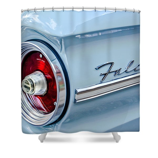 1963 Ford Falcon Futura Convertible Taillight Emblem Shower Curtain by Jill Reger