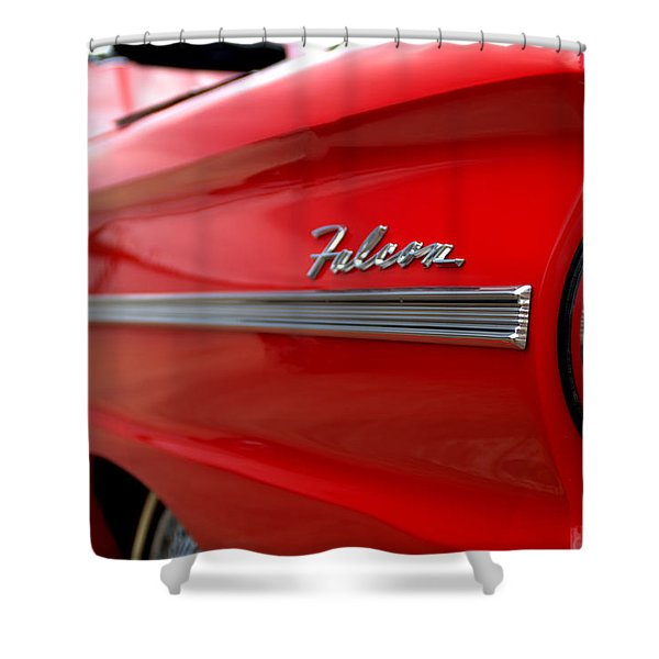 1963 Ford Falcon Name Plate Shower Curtain by Brian Harig