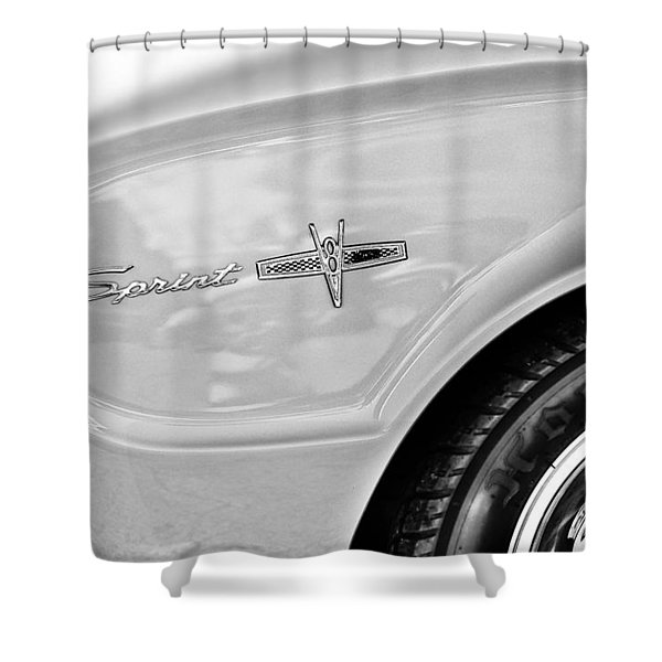 1963 Ford Falcon Sprint Side Emblem Shower Curtain by Jill Reger